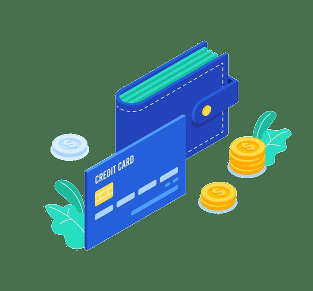 кошелек и кредитная карта, монеты