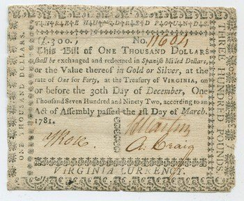 $1,000 note from 1781. Courtesy American Numismatic Society