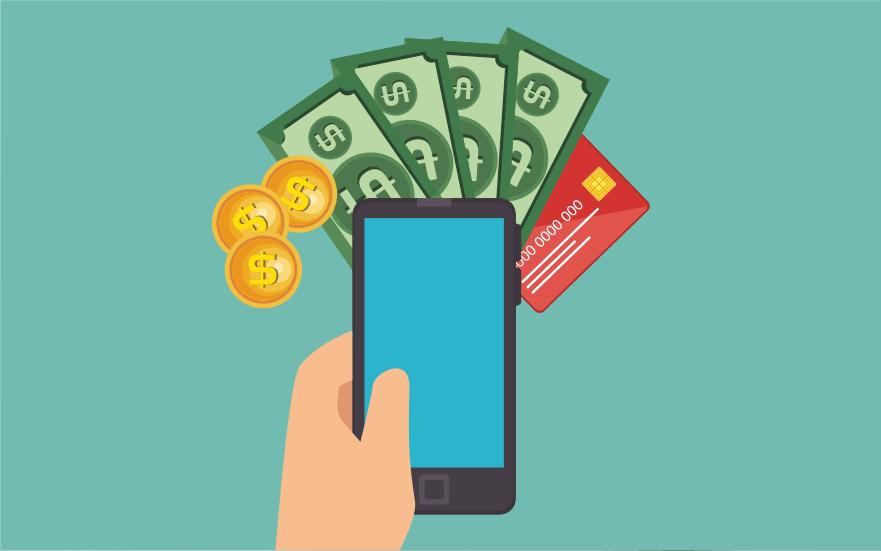 телефон, деньги, карта