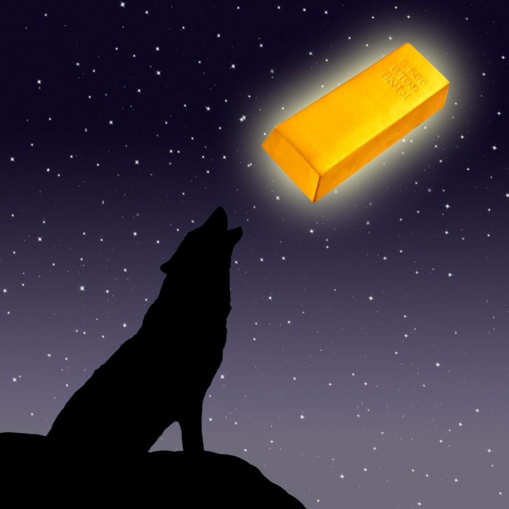 волк, слиток золота