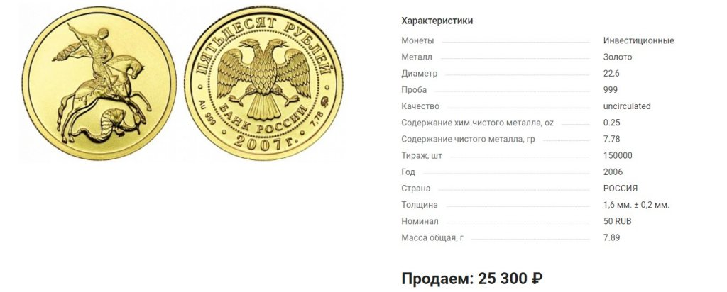Инвестиционные монеты, Георгий Победоносец