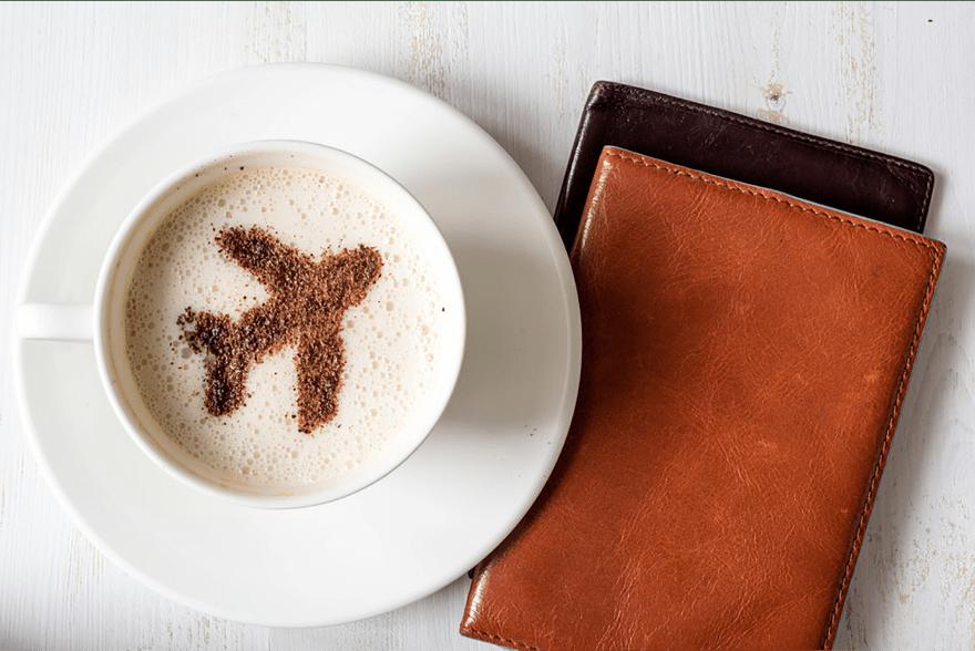 кофе, аэропорт, паспорт
