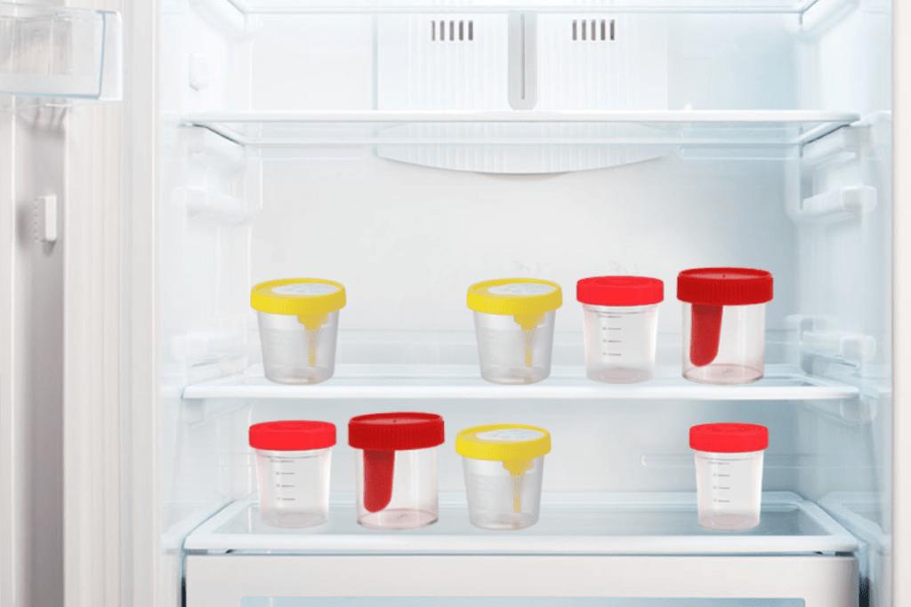 баночки для анализов, холодильник