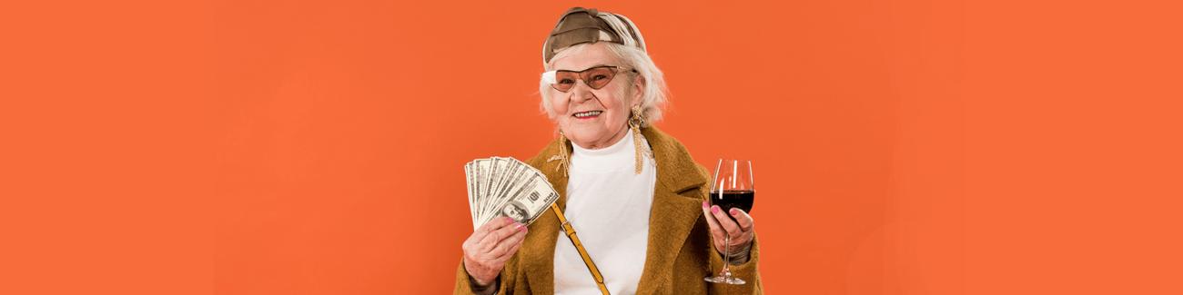 бабушка, вино, деньги