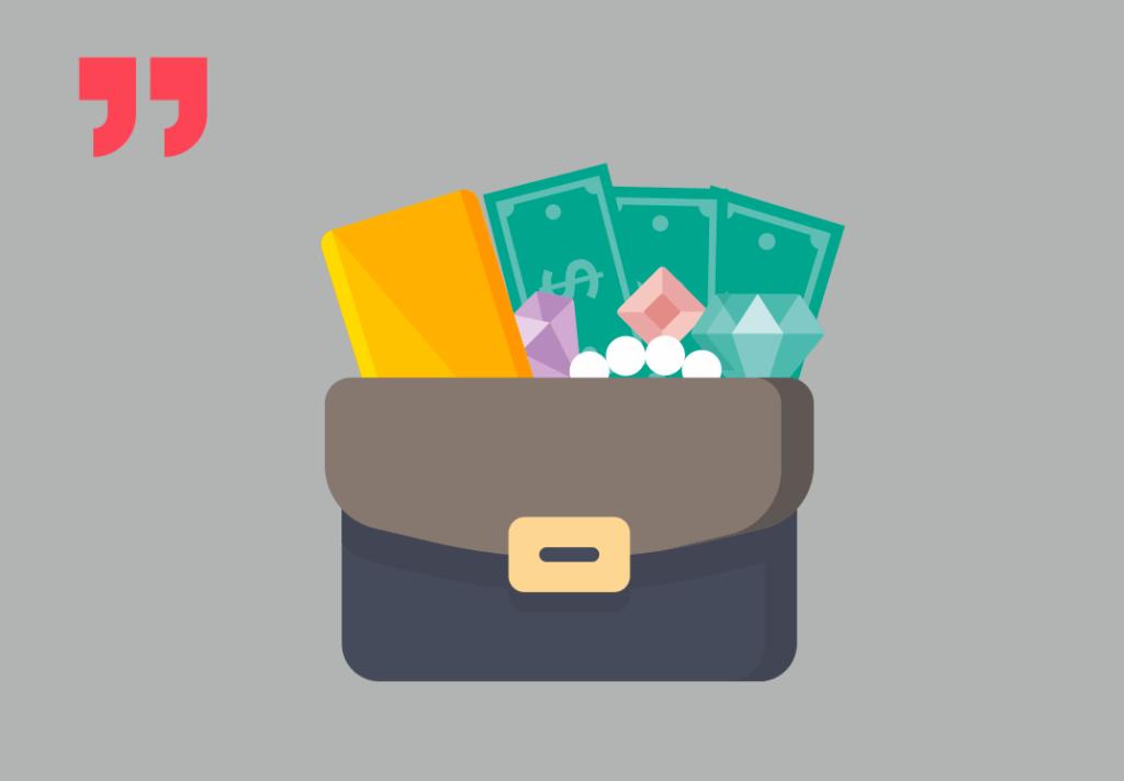 портфель, деньги, золото, украшения
