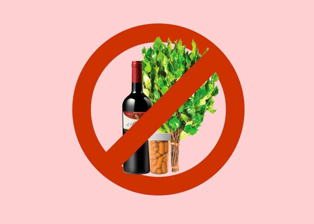 вино, баня, лекарства, запрещено