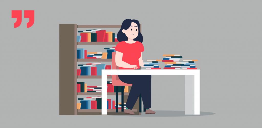 девушка, много книг