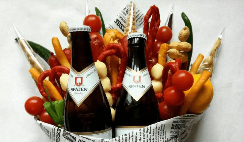 букет для мужчины, пиво, снеки, 23 февраля