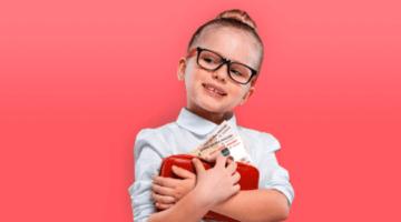 ребенок, девочка, деньги, пособия, кошелек