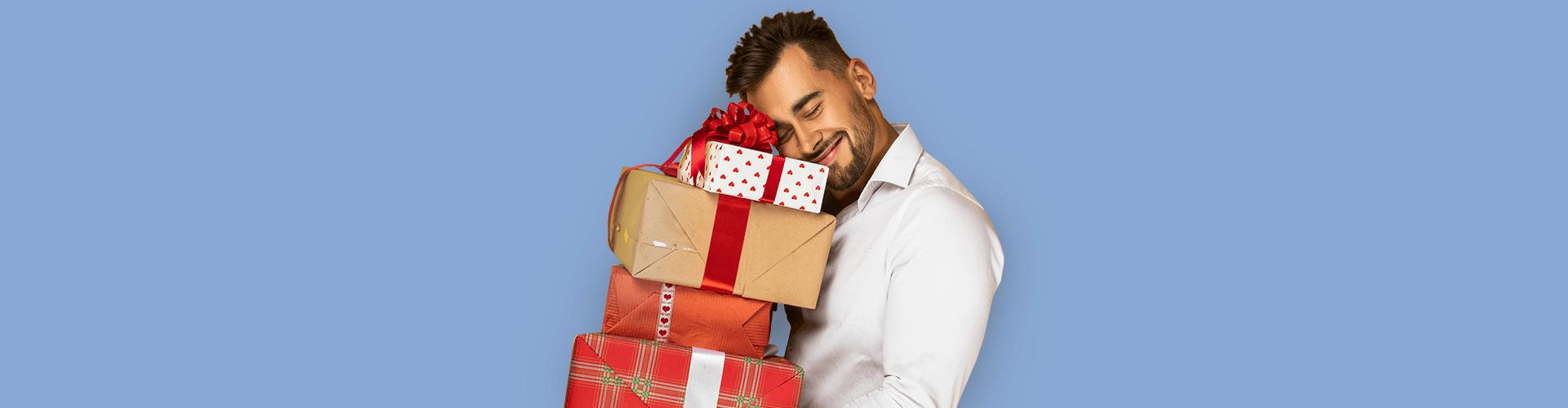 подарки, мужчина, счастливый