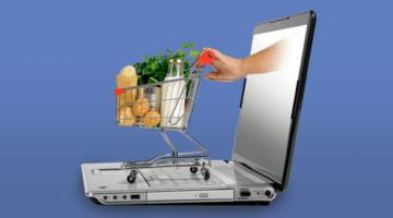 розничная торговля, ноутбук, продукты, тележка, рука