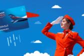 небо, самолет, девушка, аэрофлот бонус, карта, стюардесса
