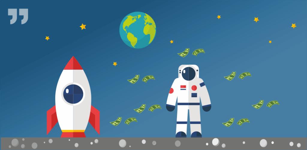 космос, ракета, космонавт, деньги, земля, луна