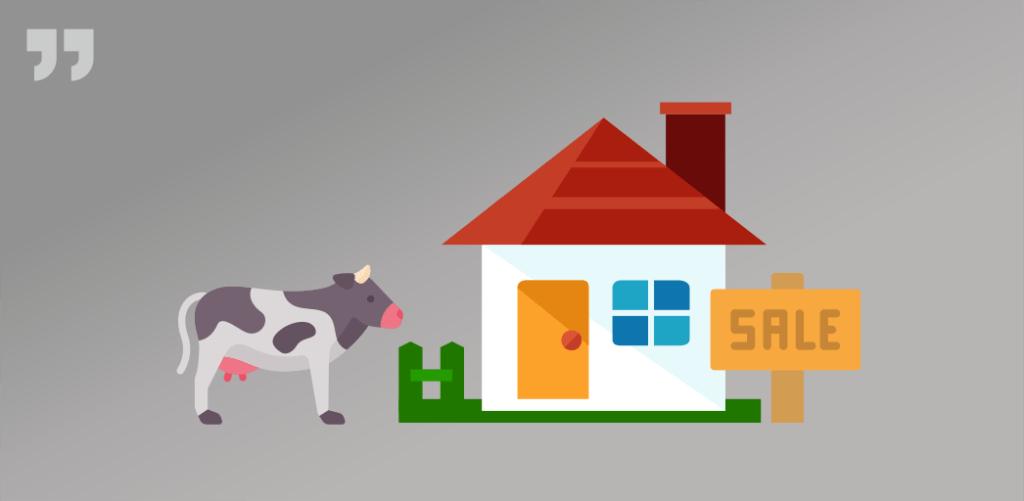 домик в сельской местности, sale, корова