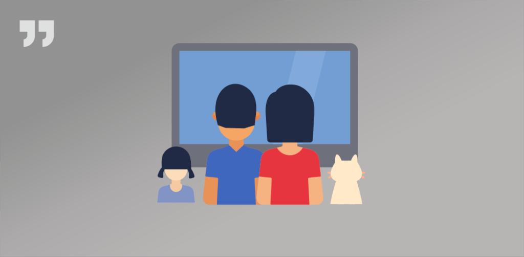 семья, телевизор, кошка