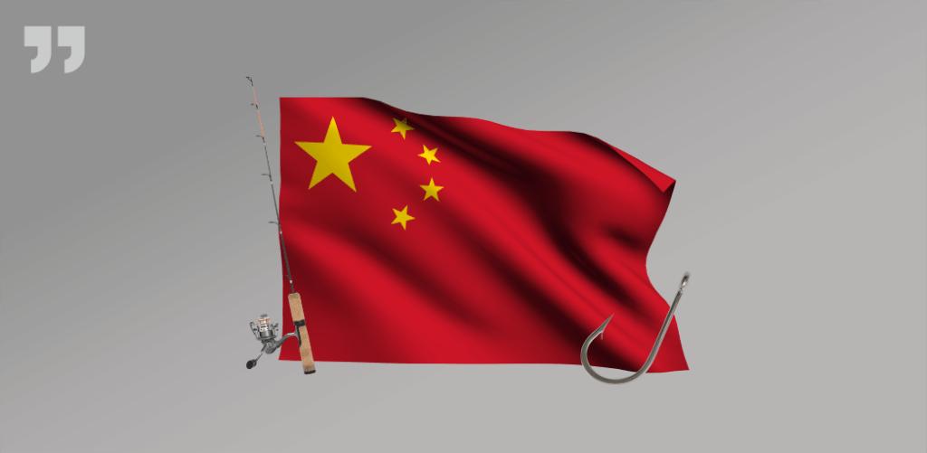 Китай, флаг, крючок, удочка