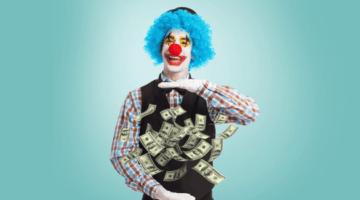 клоун, деньги, мошенники