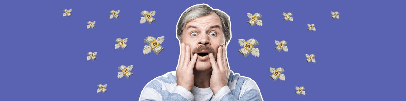 миллион рублей, мужчина, усы, улетает, налог