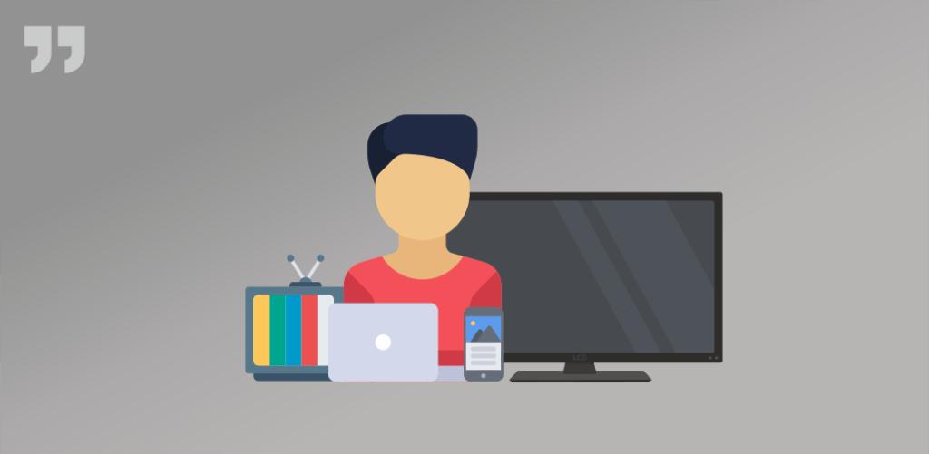 человек, ноутбук, телевизор, телефон