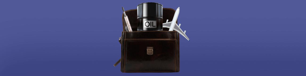 портфель, бочка нефти, градусник, самолет, инвестиции