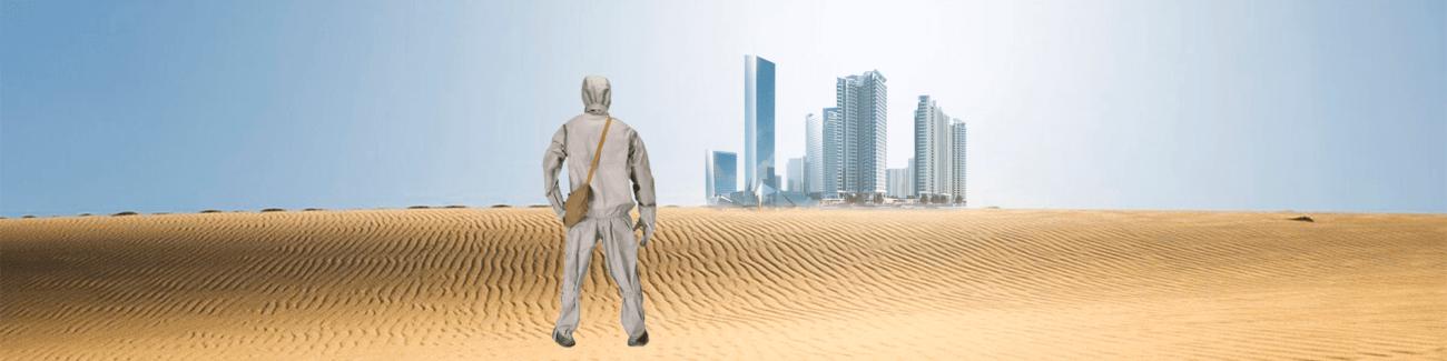 пустыня, небоскреб, бункер, защитный костюм