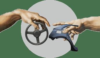Сотворение Адама, руль, крыло автомобиля