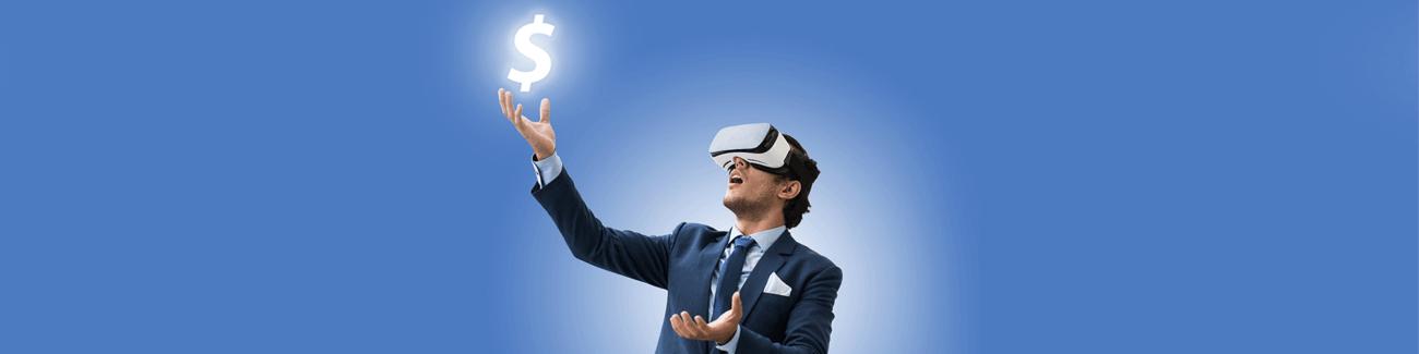 vr-технологии, мужчина, виртуальная реальсность, банк, валюта, доллар