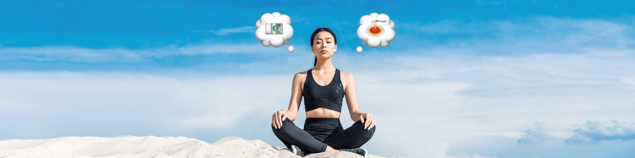 девушк, медитация, еда, деньги