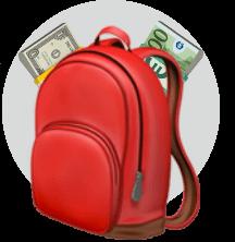 рюкзак, деньги