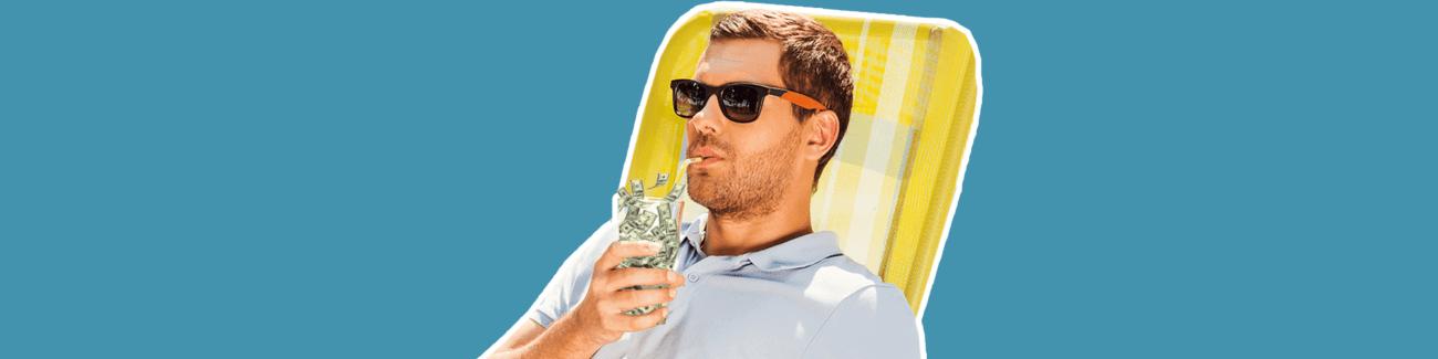 коктейль, деньги, отдых, пляж, мужчина