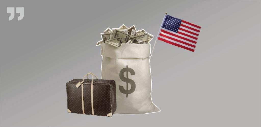 мешок денег, США, чемодан