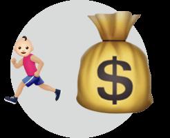 Ребенок убегает от денег