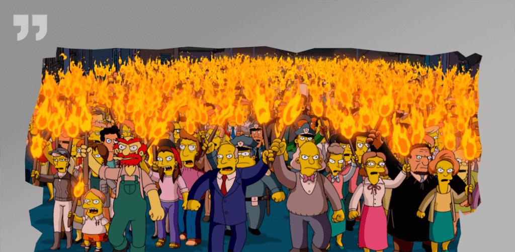 толпа людей с вилами и факелами