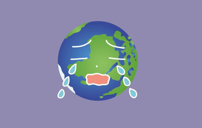 планета Земля с грустным выражениям лица
