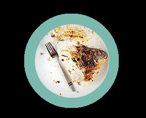 тарелка с остатками еды