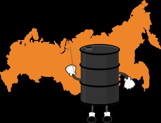 Нефть, Россия, карта
