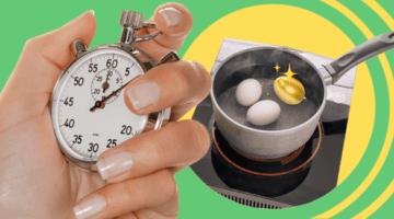 Таймер, золотое яйцо, кастрюля, плита
