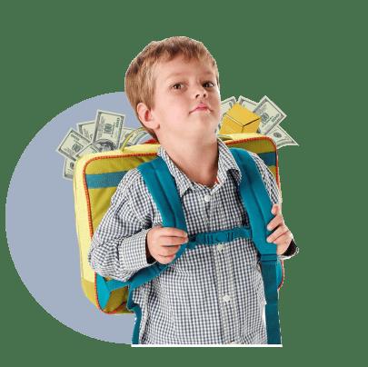 школьный рюкзак, деньги, мальчик