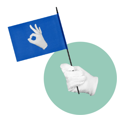 белые перчатки, флажок