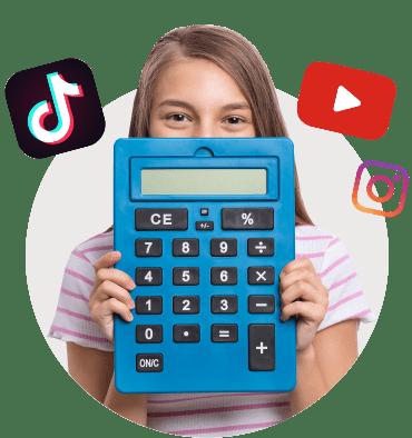 подросток, калькулятор, youtube, instagram, Tik-Tok