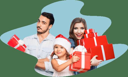 парень, девушка, ребенок, подарки