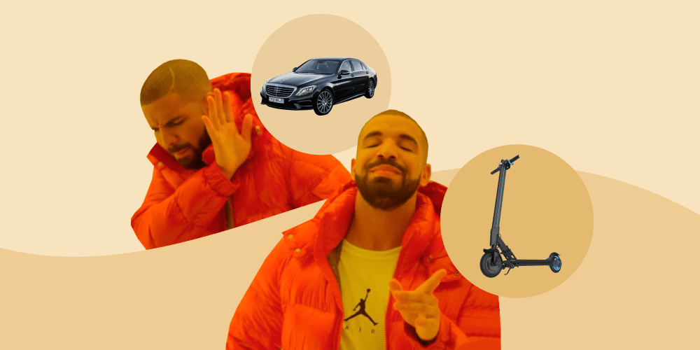машина, электросамокат, дрейк