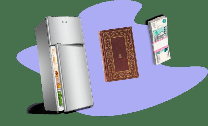 стопка денег, книга, холодильник.