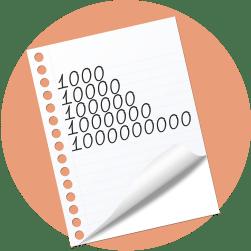 лист бумаги, цифры