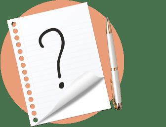 лист бумаги, знак вопроса, ручка