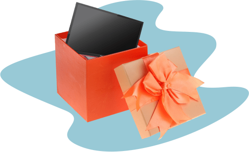 коробка, подарок, телевизор