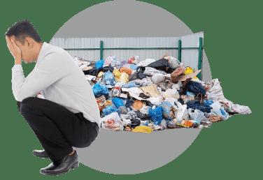 мусор, грустный бизнесмен