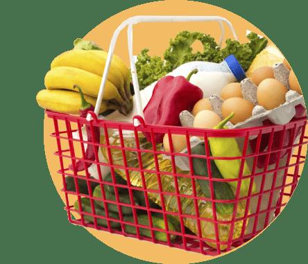корзина с покупками из супермаркета