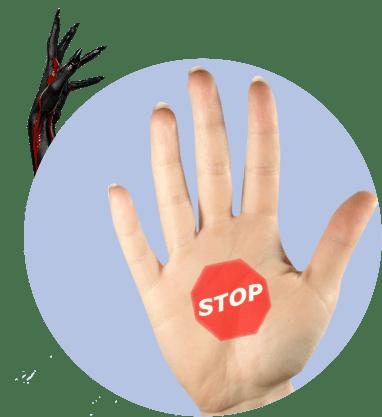 стоп, рука, страшная рука