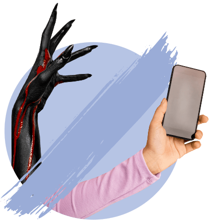 страшная рука, телефон, рука